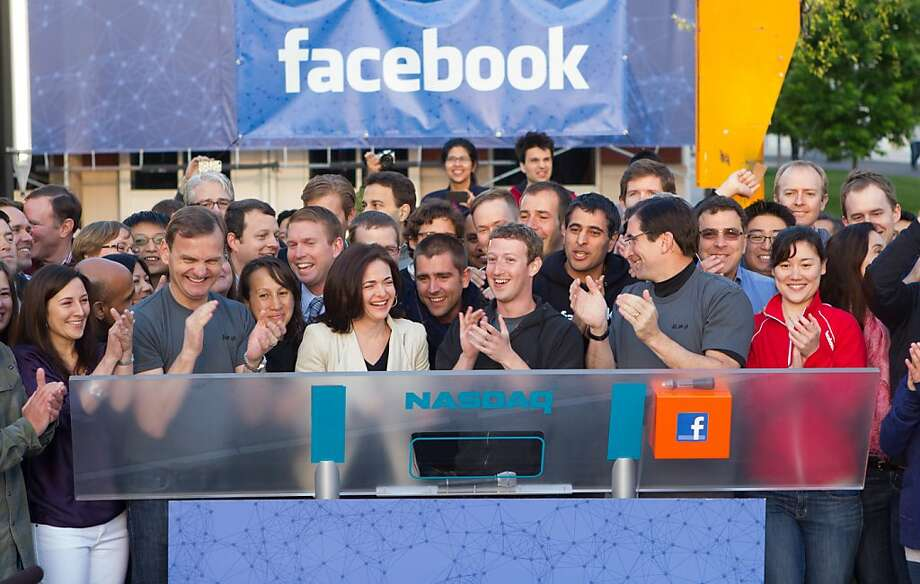 MENLO PARK, CA - MAY 18:  In this handout from Facebook, Facebook founder and CEO Mark Zuckerberg claps after ringing the Nasdaq opening bell May 18, 2012 in Menlo Park, California. Facebook began trading on the Nasdaq May 18, with initial price of $38 a share.  (Photo by Zef Nikolla/Facebook via Getty Images) Photo: Handout, Getty Images
