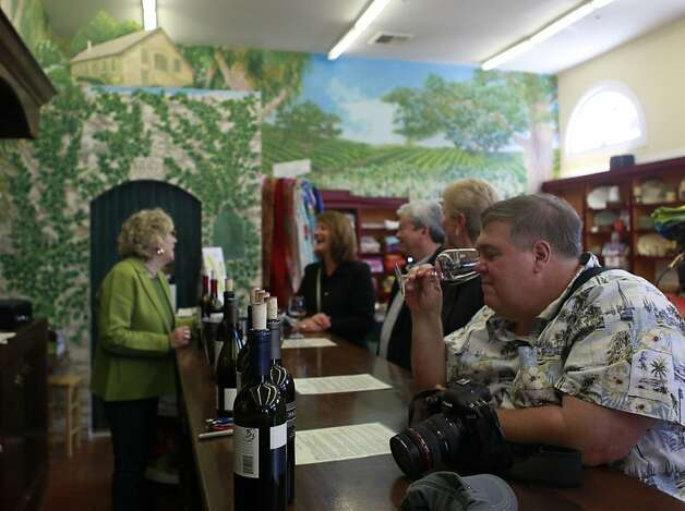 Wine tasting at the Highway 12 tasting room, which is located in a shop selling knick-knacks, clothes and boutique goodies. In Sonoma, Calif. on Thursday, April 5, 2012. Photo: Jill Schneider, The Chronicle