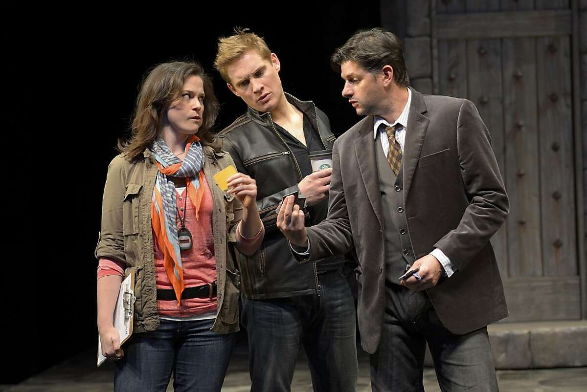 Stage manager Roxanne (Jessica Wortham, left) and star Jake (Craig Marker) inspect Harry's (Gabriel Marin) Equity card in San Jose Rep's production of Theresa Rebeck's