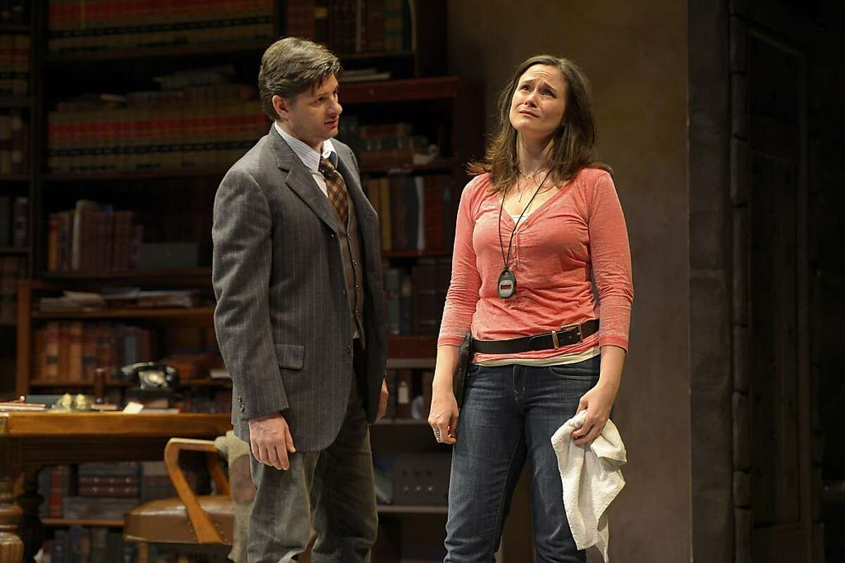 Harry (Gabriel Marin, left) tries to explain to Roxanne (Jessica Wortham) why he left her in San Jose Rep's production of Theresa Rebeck's