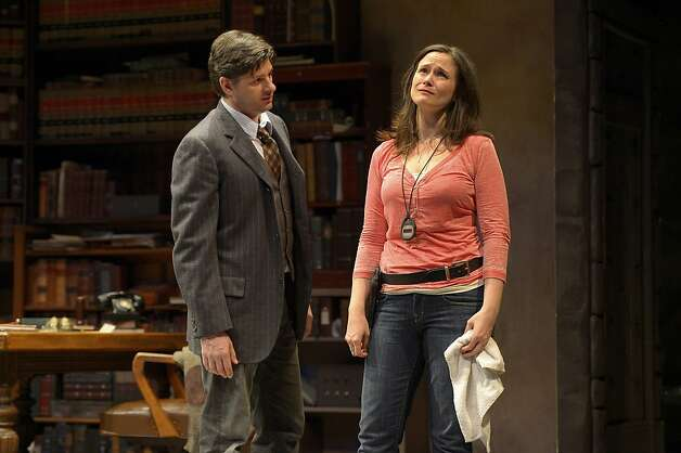 "Harry (Gabriel Marin, left) tries to explain to Roxanne (Jessica Wortham)  why he left her in San Jose Rep's production of Theresa Rebeck's ""The Understudy"" Photo: Kevin Berne"