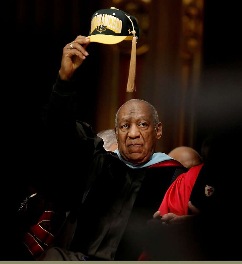 Comedian and educator, Bill Cosby, raisces his cap high as he prepares to deliver the commencement speech to the graduating students of Arts and Social Sciences at the University of San Francisco, on Friday May 18, 2012,  at  St. Ignatius Church in San Francisco,Ca. Photo: Michael Macor, The Chronicle