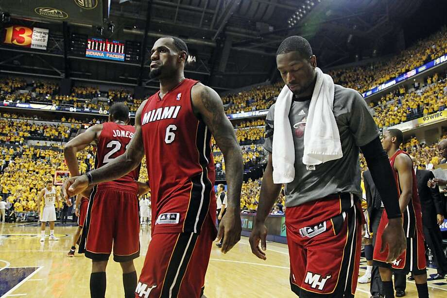 Miami Heat's LeBron James (6) and Dwyane Wade, right, leave the court after losing 94-75 to the Indiana Pacers in Game 3 of their NBA basketball Eastern Conference semifinal playoff series, Thursday, May 17, 2012, in Indianapolis.  (AP Photo/Darron Cummings) Photo: Darron Cummings, Associated Press