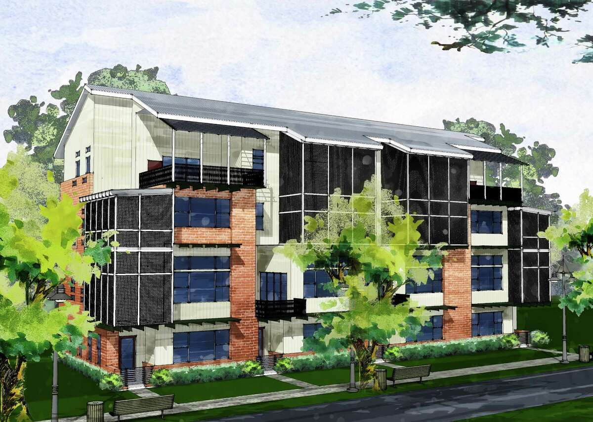 This a rendering of townhouses being built by Lovett Homes in the East End. They will have an urban industrial design and start at $525,000.