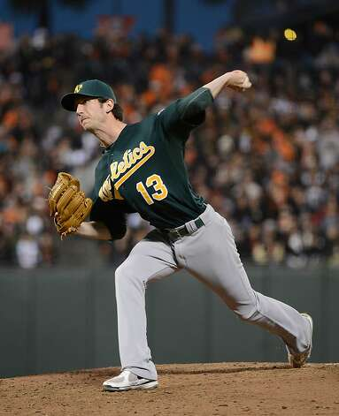 SAN FRANCISCO, CA - MAY 18:  Jerry Blevins #13 of the Oakland Athletics pitches in the third inning against the San Francisco Giants at AT&T Park on May 18, 2012 in San Francisco, California.  (Photo by Thearon W. Henderson/Getty Images) Photo: Thearon W. Henderson, Getty Images