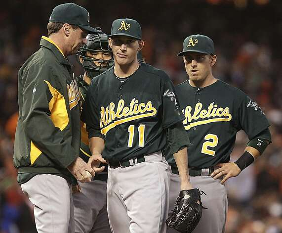 Oakland Athletics manager Bob Melvin, left, removes pitcher Jarrod Parker (11) from the baseball game against the San Francisco Giants during the third inning Friday, May 18, 2012, in San Francisco. At right is Cliff Pennington (2). (AP Photo/Ben Margot) Photo: Ben Margot, Associated Press