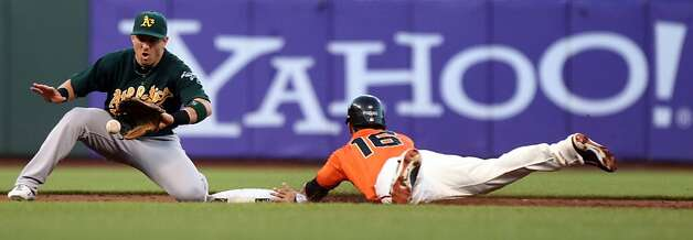 San Francisco Giants Angel Pagan steals second base in front of Oakland Athletics Cliff Pennington during the second inning of their MLB baseball game Friday, May 18, 2012 in San Francisco Calif. Photo: Lance Iversen, The Chronicle