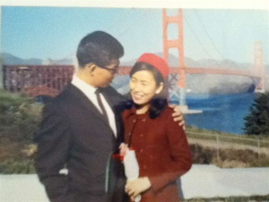 My mom and dad at the bridge in 1968: It was her first day in the U.S. after arriving from Korea. Photo: Dan Lee