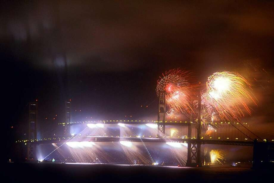 The Golden Gate Bridge's 50th anniversary fireworks curtain; Sunday's 75th anniversary celebration will include a 20-minute fireworks show. Photo: Ben McBeth