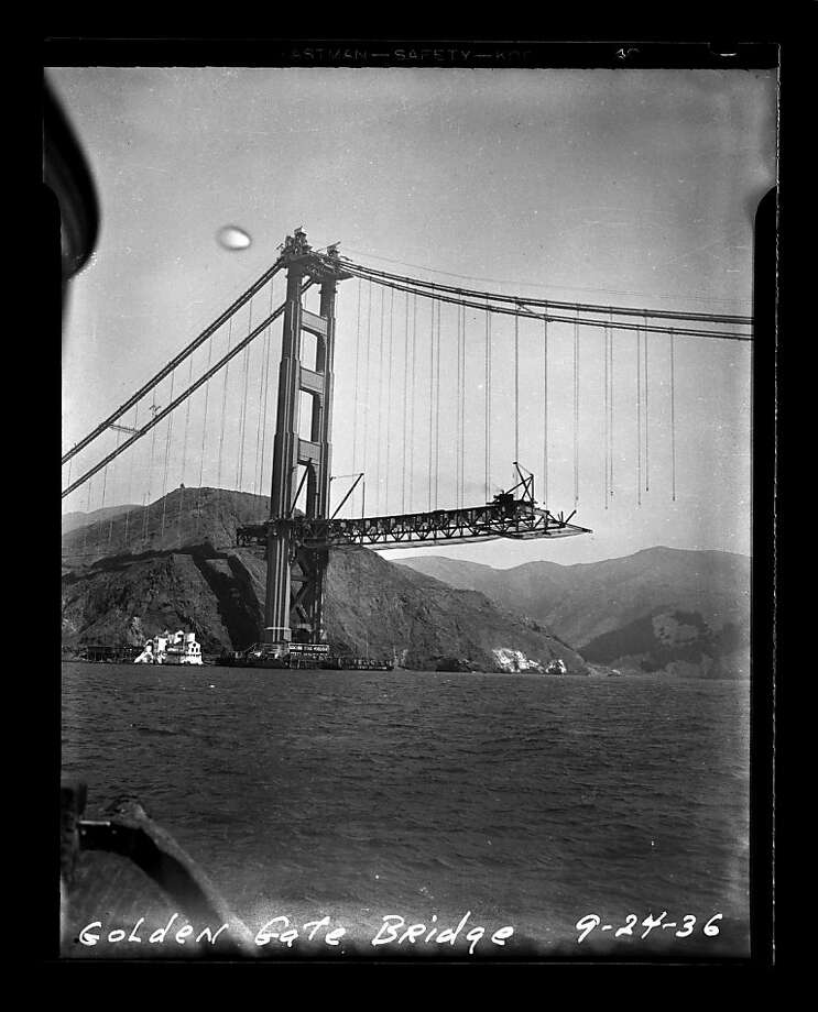 The Golden Gate Bridge under construction on September 24, 1936. San Francisco Chronicle archive photos of the Golden Gate Bridge construction and opening to the public. The city of San Francisco will celebrate the Golden Gate Bridge's 75th anniversary on Sunday, May 27, 2012. Photo: San Francisco Chronicle