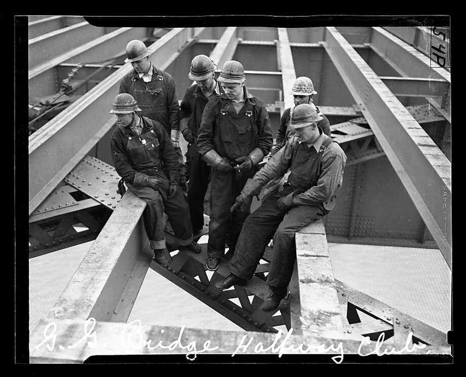 """Portrait of the Golden Gate Bridge """"Halfway to Hell Club,"""" a group of men who had fallen off the bridge but were saved by the safety nets. Photo: San Francisco Chronicle"""
