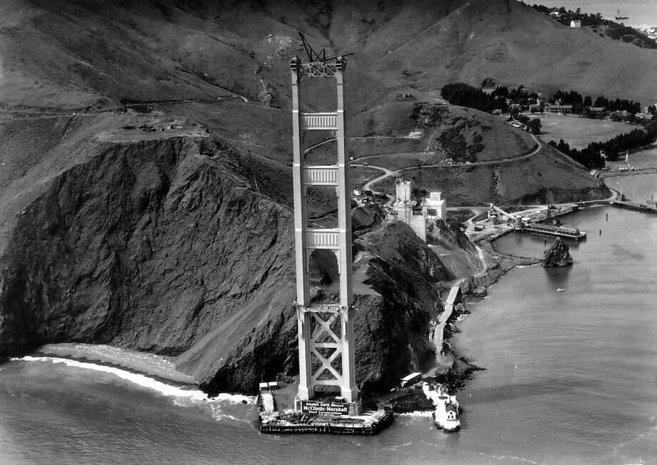 The Marin tower of the Golden Gate Bridge upon completion in 1935. Photo: Www.goldengate75.org