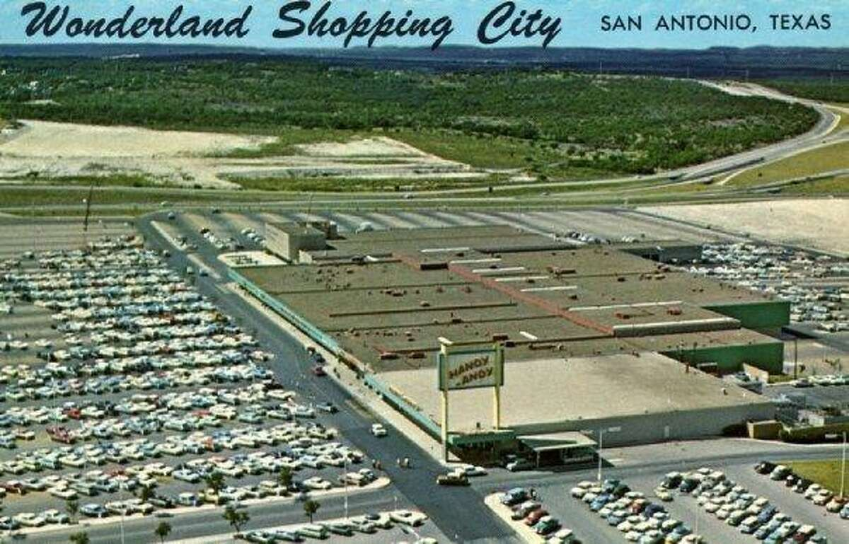 An undated postcard depicts the once and future Wonderland mall at Fredericksburg Road and Loop 410.