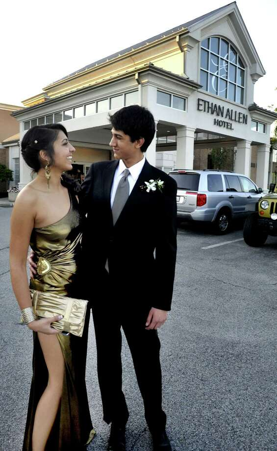 Monica Talwar and Nikhil Wahi attend the Brookfield High School Senior Prom at the Ethan Allen Hotel in Danbury Friday, May 18, 2012. Photo: Michael Duffy / The News-Times