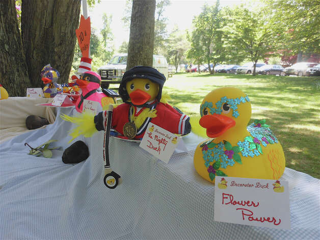Decorator Duck entries on display at the Duckie Derby on the Mill River Saturday. Photo: Mike Lauterborn / Fairfield Citizen contributed