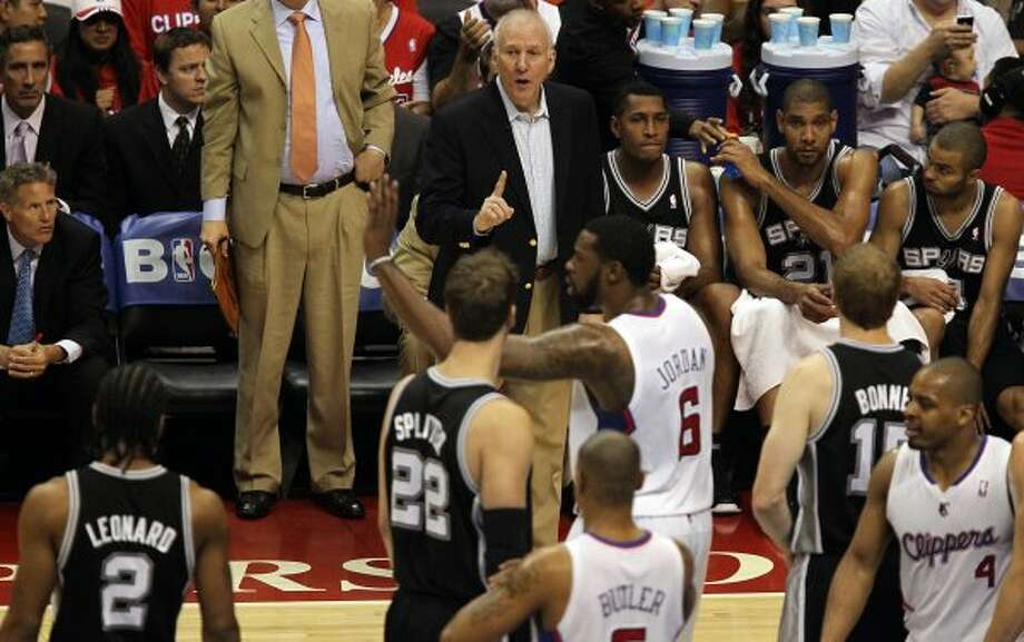 San Antonio Spurs head coach Gregg Popovich calls out plays during their game against the Los Angeles Clippers in game three of the Western Conference semifinals at Staples Center in Los Angeles, Saturday, May 19, 2012.  Jerry Lara/San Antonio Express-News (Jerry Lara / San Antonio Express-News)