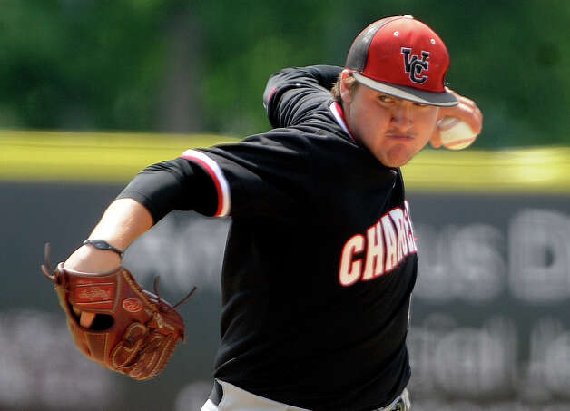Churchill pitcher Joseph Dimaline bears down enroute to victory in the first game of a Class 5A third-round baseball playoffs doubleheader against O'Connor at Wolff Stadium on Saturday, May 19, 2012. Billy Calzada / San Antonio Express-News Photo: BILLY CALZADA, Express-News / SAN ANTONIO EXPRESS-NEWS