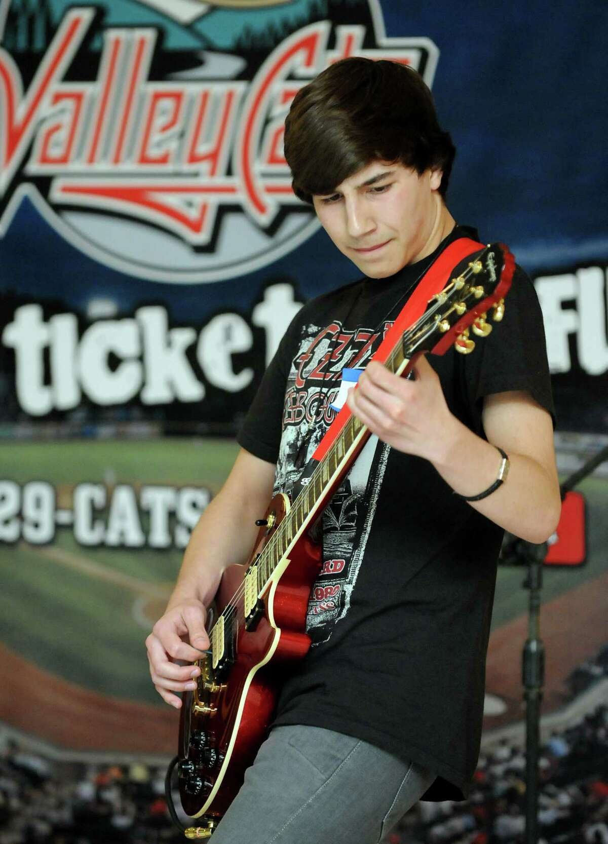 Tristen Jarvis, 16, of Niskayuna plays a Jimi Hendrix version of the Star Spangled Banner during 2nd Annual National Anthem tryouts for the Tri-City ValleyCats 2012 baseball season on Saturday, May 19, 2012, at Crossgates Mall in Guilderland, N.Y. Jarvis plays bass for the Empire Youth Orchestra. (Cindy Schultz / Times Union)