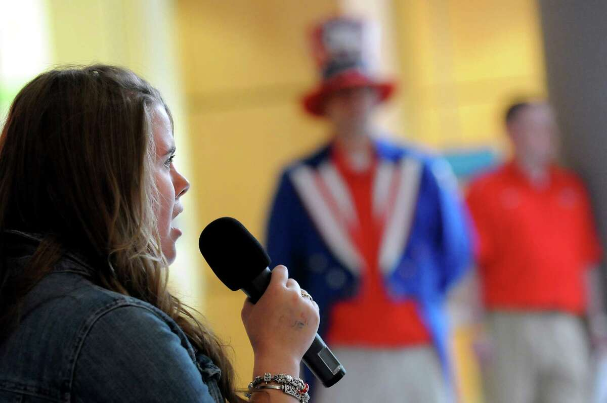 Anna Scherer, 15, of Wynantskill sings the Star Spangled Banner during the 2nd Annual National Anthem tryouts for the Tri-City ValleyCats 2012 baseball season on Saturday, May 19, 2012, at Crossgates Mall in Guilderland, N.Y. (Cindy Schultz / Times Union)