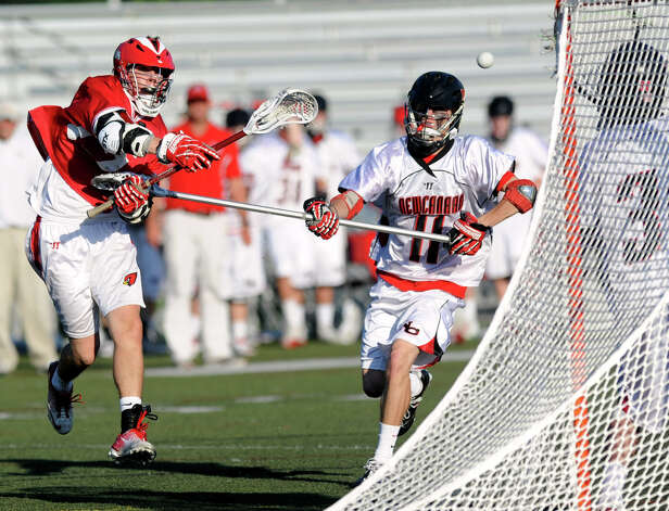Greenwich's Ryan Flippin takes a shot during Saturday's FCIAC boys lacrosse quarterfinal game at New Canaan High School on May 19, 2012. Photo: Lindsay Niegelberg / Stamford Advocate