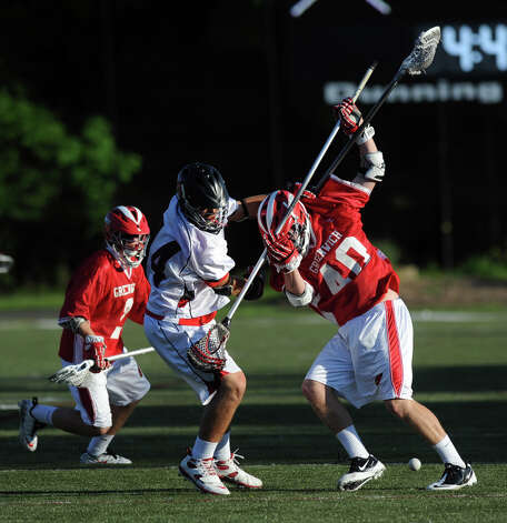 Saturday's FCIAC boys lacrosse quarterfinal game between Greenwich and New Canaan at New Canaan High School on May 19, 2012. Photo: Lindsay Niegelberg / Stamford Advocate