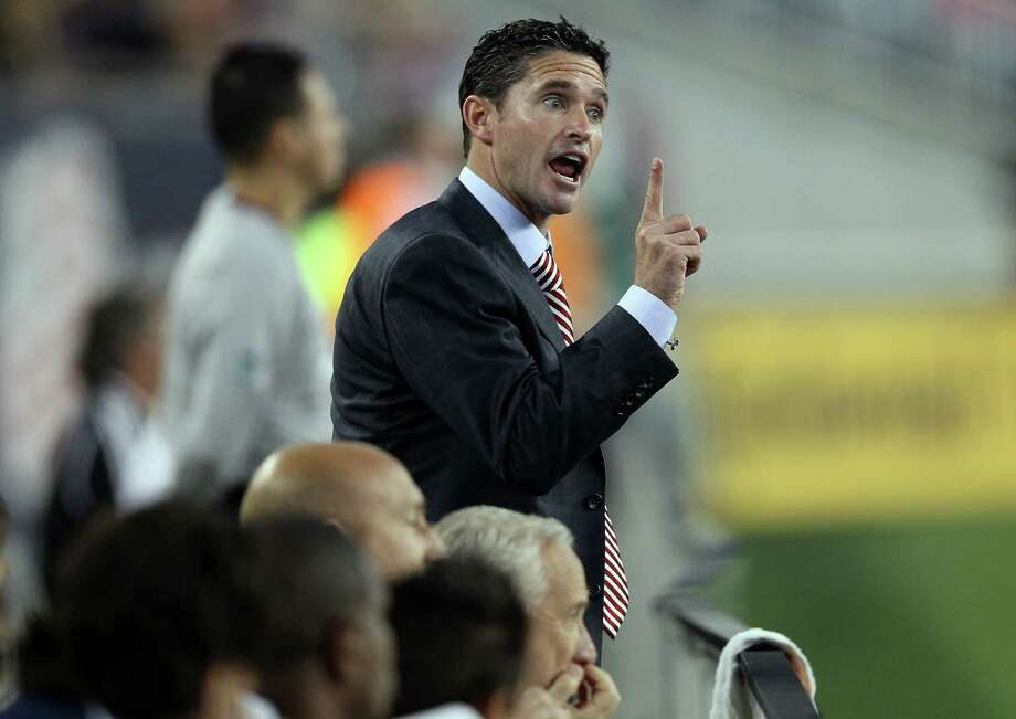 FOXBORO, MA - MAY 19:  Head coach Jay Heaps of the New England Revolution reacts to a call against the Revolution in the first half against the Houston Dynamo on May 19, 2012 at Gillette Stadium in Foxboro, Massachusetts. Photo: Elsa, Getty Images / 2012 Getty Images