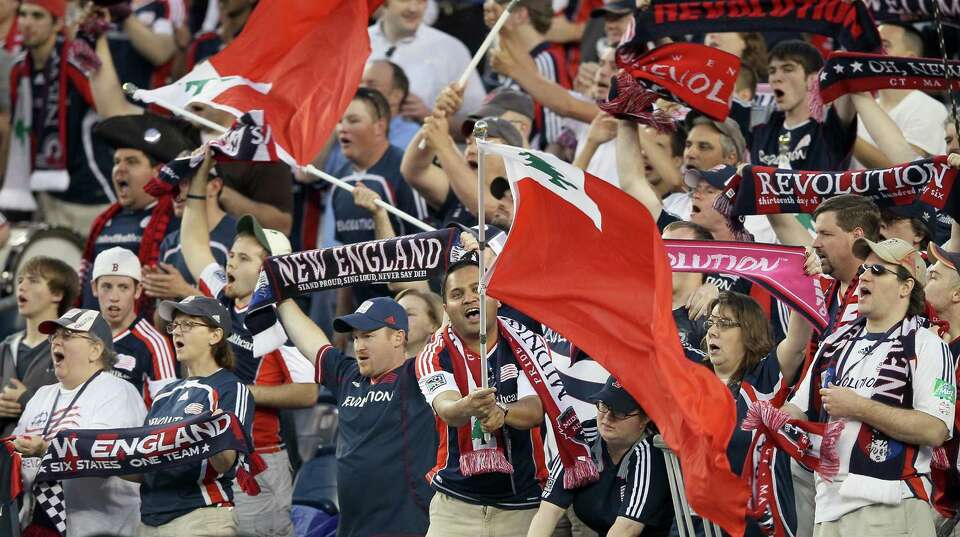 FOXBORO, MA - MAY 19:  New England Revolution   fans cheer on their team in the first half against t