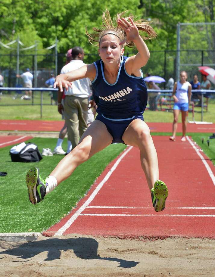 Columbia's Eva Kiehl competes in the long jump at the Eddy Meet at Schenectady High School Saturday May 19, 2012.   (John Carl D'Annibale / Times Union) Photo: John Carl D'Annibale / 00017739A