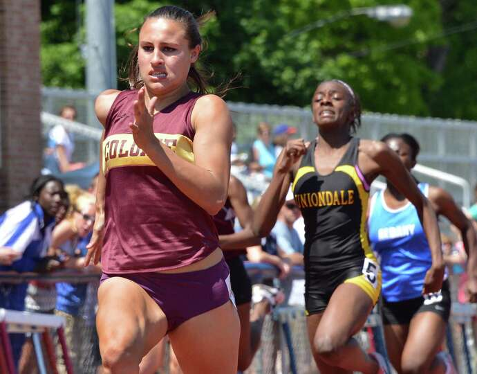 Colonie High's Kyle Plante, left, wins the final of the girls 200m at the Eddy Meet at Schenectady H