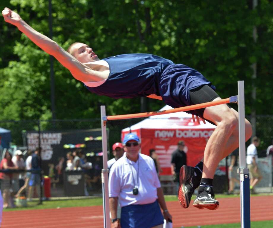Mekeel Christian's Collin Stewart clears 6 foot 2 inches in the high jump at the Eddy Meet at Schenectady High School Saturday May 19, 2012.   (John Carl D'Annibale / Times Union) Photo: John Carl D'Annibale / 00017739A