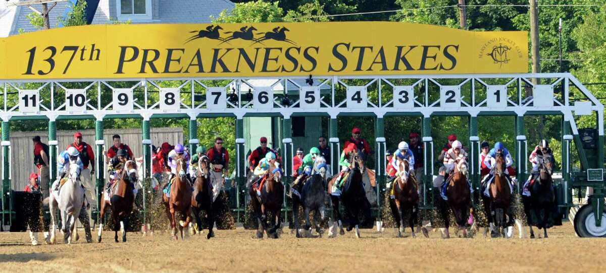 Horses leave the gate at the start of the 137th running of The Preakness Stakes at Pimlico in Baltimore, MD. May 19, 2012. (Skip Dickstein / Times Union)