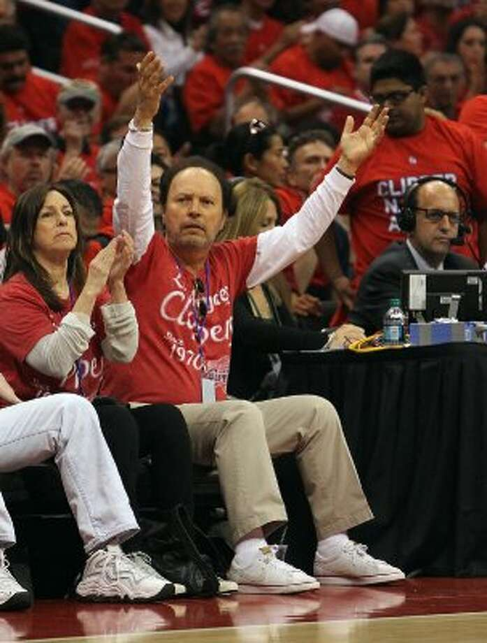 Celebrity Billy Crystal roots for the Los Angeles Clippers as the Spurs played against the Clippers in game three of the Western Conference semifinals at the Staples Center in Los Angeles on Saturday, May 19, 2012.  The Spurs won 96-86.  Kin Man Hui/Express-News (SAN ANTONIO EXPRESS-NEWS)