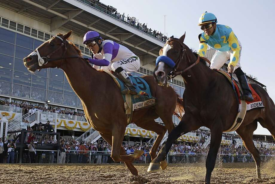 I'll Have Another (9), ridden by Mario Gutierrez, beats Bodemeister, ridden by Mike Smith, to the finish line to win the 137th Preakness Stakes horse race at Pimlico Race Course, Saturday, May 19, 2012, in Baltimore.(AP Photo/Matt Slocum) Photo: Matt Slocum, Associated Press