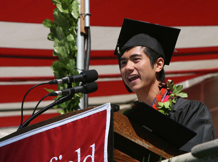 Kekoa Taparra gives the valedictory address at Fairfield University's 62nd commencement exercises in Fairfield, Conn. on Sunday, May 20, 2012. Photo: B.K. Angeletti / Connecticut Post