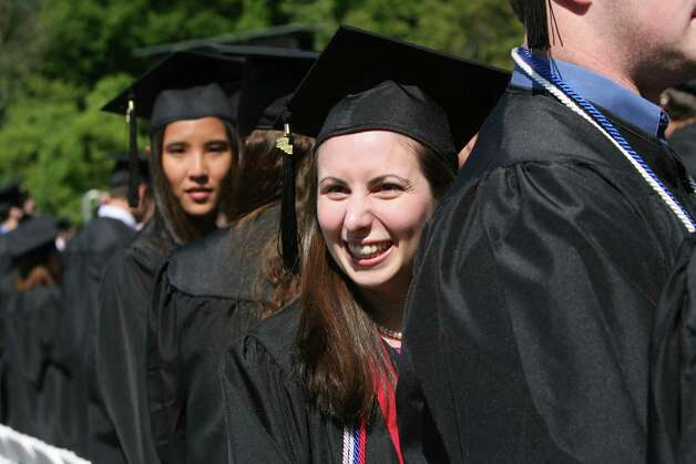 Jess Parlon, of MA,  smiles at family during Fairfield University's 62nd commencement exercises in Fairfield, Conn. on Sunday, May 20, 2012. Photo: B.K. Angeletti / Connecticut Post