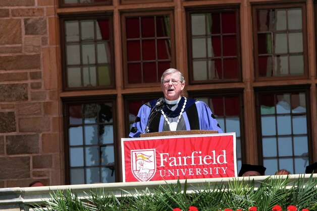 President Rev. Jeffrey von Arx gives the concluding remarks during Fairfield University's 62nd commencement exercises in Fairfield, Conn. on Sunday, May 20, 2012. Photo: B.K. Angeletti / Connecticut Post
