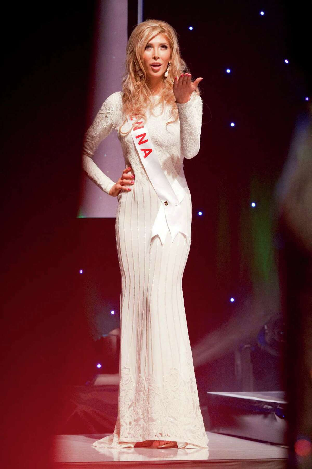 Transgendered beauty queen Jenna Talackova appears in the Miss Universe Canada pageant in Toronto, on Saturday May 19, 2012. Talackova sparked global attention when she was initially disqualified from the pageant.
