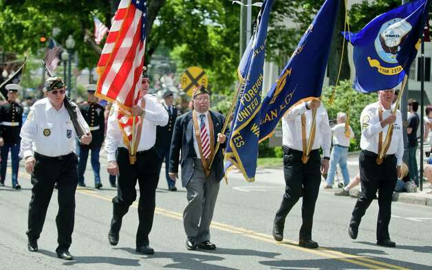Bethel American Legion and VFW carry flags in the Bethel Memorial Day parade. Sunday, May 20, 2012 Photo: Scott Mullin / The News-Times Freelance