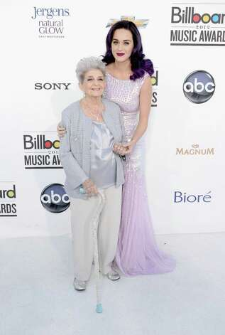 LAS VEGAS, NV - MAY 20:  Singer Katy Perry and her grandmother arrive at the 2012 Billboard Music Awards held at the MGM Grand Garden Arena on May 20, 2012 in Las Vegas, Nevada. Photo: Frazer Harrison, Getty Images For ABC / 2012 Getty Images