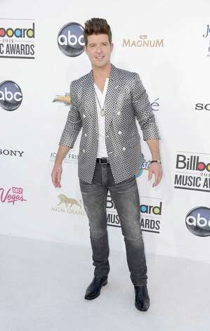 LAS VEGAS, NV - MAY 20:  Singer Robin Thicke arrives at the 2012 Billboard Music Awards held at the MGM Grand Garden Arena on May 20, 2012 in Las Vegas, Nevada. Photo: Frazer Harrison, Getty Images For ABC / 2012 Getty Images
