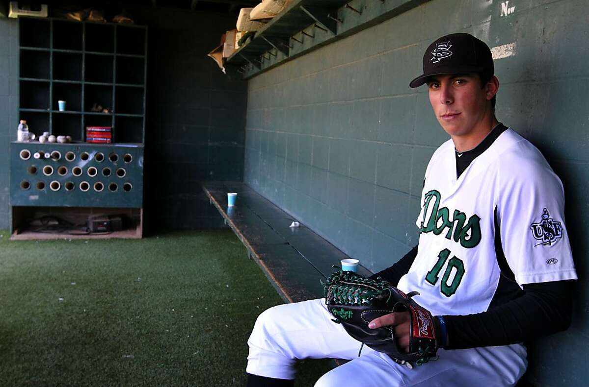 USF ace pitcher Kyle Zimmer, who rarely pitched in high school, arrived at the University of San Francisco as an infielder and is now expected to be a high draft pick. Thursday, May 17, 2012 in San Francisco Calif.