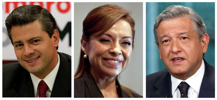 FILE - This combo picture of three file photos shows presidential candidates, from left, Enrique Pena Nieto of the Institutional Revolutionary Party, PRI, Josefina Vazquez Mota of the National Action Party, PAN, and Andres Manuel Lopez Obrador of the Democratic Revolutionary Party, PRD, during different events in Mexico City. Mexico's scheduling conflict between a presidential candidates' debate and a soccer quarterfinals match got ugly Tuesday, May 1, 2012.  It seems to have been turned into a grudge match, between whether Mexicans will tune in to watch politicos batting around ideas, or two of the nation's best teams playing soccer. Mexico will hold presidential elections on July 1, 2012.  (AP Photo, Files) / AP