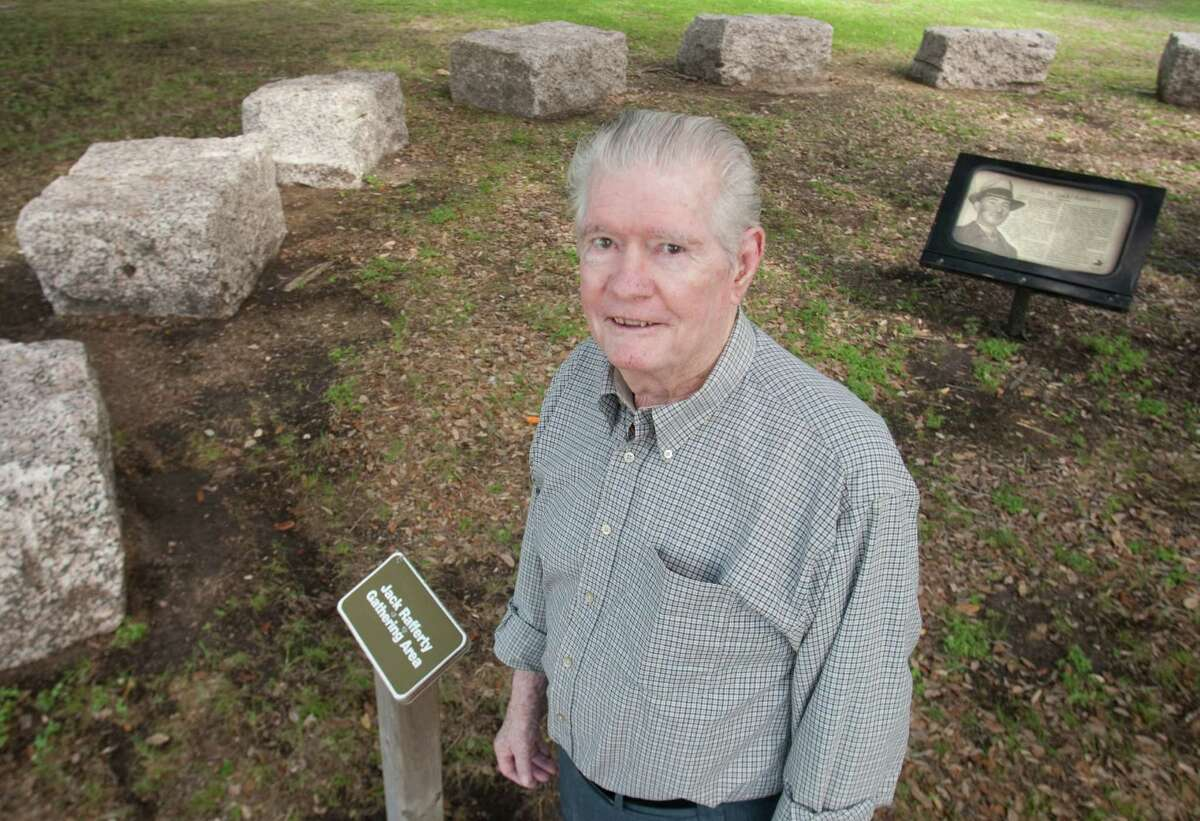 When Hugh Rafferty was `13, he helped his late father, John H. Rafferty - pictured in a monument dedicated to him at Willow Waterhold Greenspace Conservancy - keep track of rising waters in 1937.