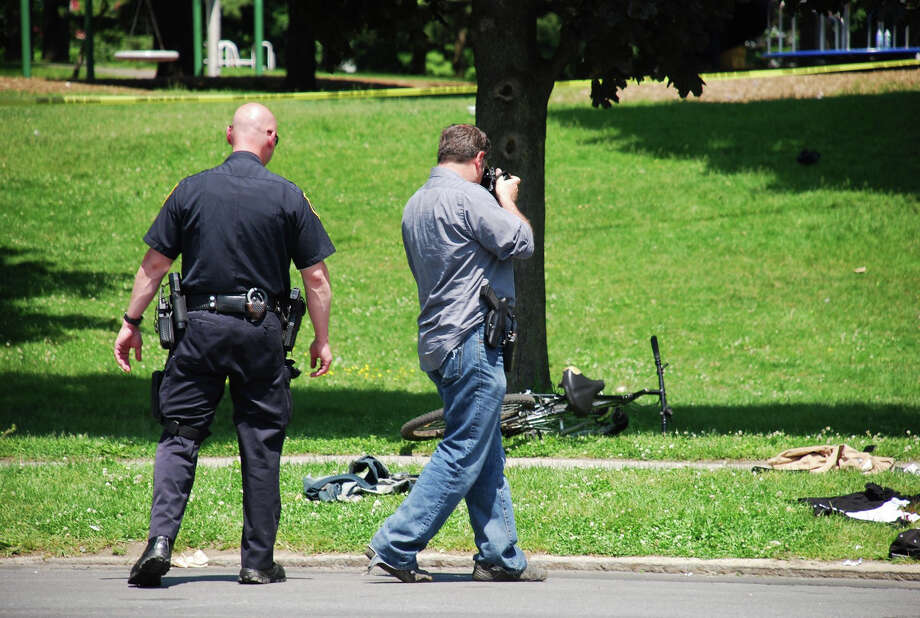 A 26-year-old  was shot in the 800 block of Clinton Avenue near Swinbourne Park in Albany  Sunday afternoon, May 20, 2012. Photo by Tom Heffernan Photo: Picasa