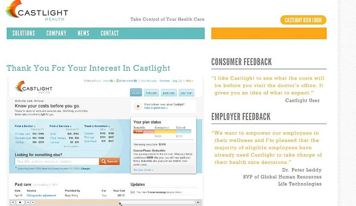 Castlight Health of San Francisco compiles paid claims data from companies and insurers and lays out online how much doctors, labs and hospitals charge for their services, as well as their quality ratings.