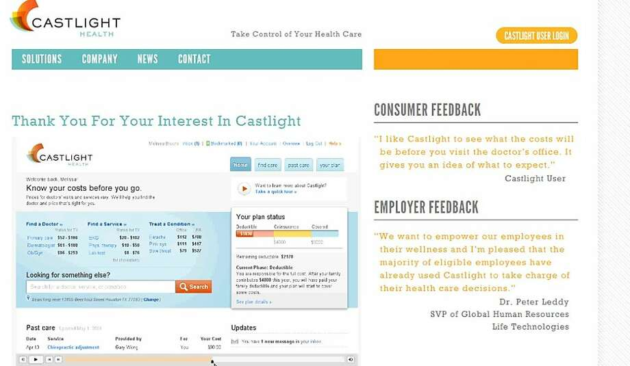 Castlight Health of San Francisco compiles paid claims data from companies and insurers and lays out online how much doctors, labs and hospitals charge for their services, as well as their quality ratings. Photo: Castlighthealth.com