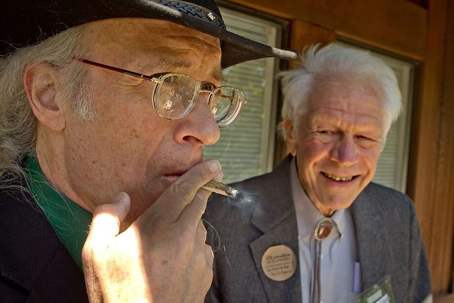 Congressional candidate Andy Caffrey smokes a Marijuana joint with Congressional candidate John Lewallen in Fairfax, Calif., on Thursday, May 17th, 2012. Photo: John Storey, Special To The Chronicle