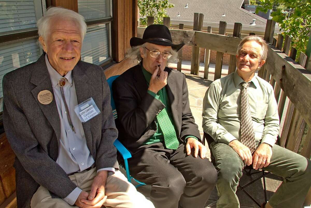 Congressional candidate Andy Caffrey smokes a Marijuana joint with Congressional candidates John Lewallen, left, and Dr. William Courtney in Fairfax, Calif., on Thursday, May 17th, 2012.