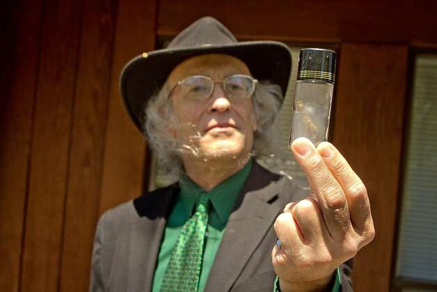 Congressional candidate Andy Caffrey holds up a Marijuana joint in a bottle that he smoked in Fairfax, Calif., on Thursday, May 17th, 2012. Photo: John Storey, Special To The Chronicle