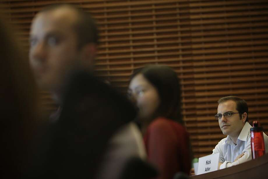 Nicolas Grundermann listens to student teams deliver their data analysis on an assigned paper during Making Data Relevant class at Stanford University on Thursday, May 17, 2012 in Stanford, Calif. Photo: Lea Suzuki, The Chronicle